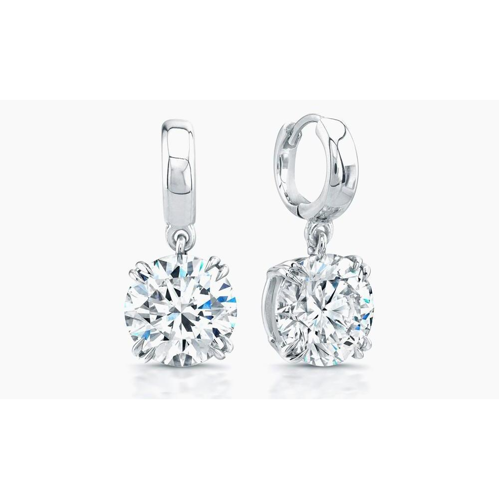 Brilliant Cut 5.50 Carats Diamonds Lady Dangle Earrings White Gold Dangle Earrings