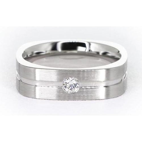 Brushed Finish Round Diamond Mens' Ring White Gold 14K 0.20 Carats Mens Ring