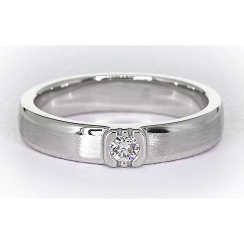 Brushed Finish Round Diamond Men'S Ring White Gold 14K 0.50 Carats Mens Ring
