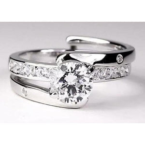 Bypass Shank Setting Round Diamond Engagement Ring 2 Carats Engagement Ring
