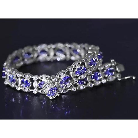 Ceylon Blue Diamond Bracelet 15 Carats White Gold Women Jewelry Gemstone Bracelet
