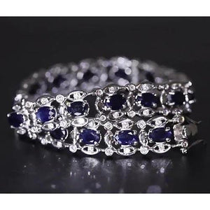 Ceylon Blue Diamond Bracelet 21 Carats White Gold 14K Gemstone Bracelet