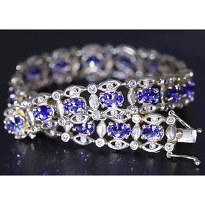 Ceylon Blue Diamond Bracelet 26.40 Carats White Gold Women Jewelry New Gemstone Bracelet