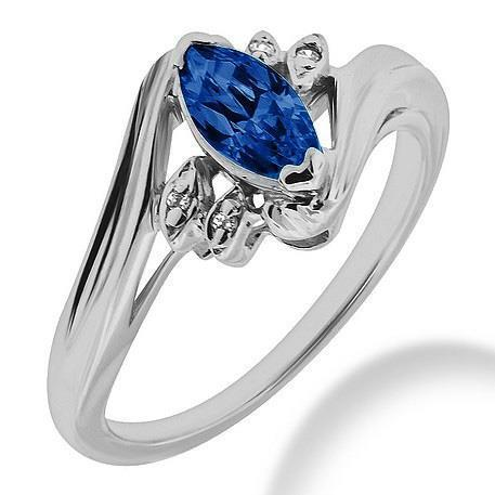 Ceylon Blue Sapphire Marquise Cut And Diamond Ring Gold 1.10 Ct. Gemstone Ring
