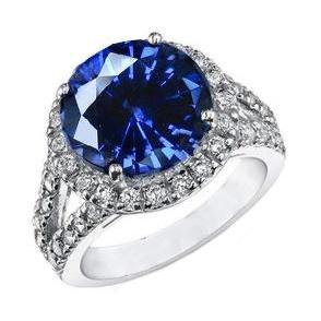Ceylon Blue Sapphire Round Cut Diamond Ring Lady Men Gold Jewelry Gemstone Ring