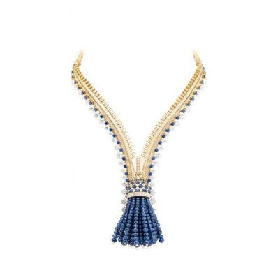 Ceylon Sapphire And Diamonds 25.00 Ct Ladies Necklace White Gold 14K Gemstone Necklace