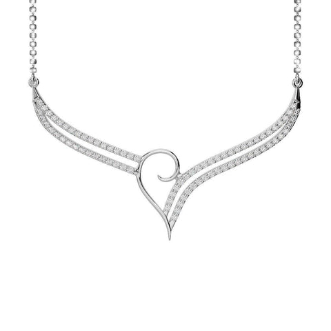 Chain Necklace Round Brilliant Cut 2.00 Ct Diamonds White Gold 14K Chains Necklace