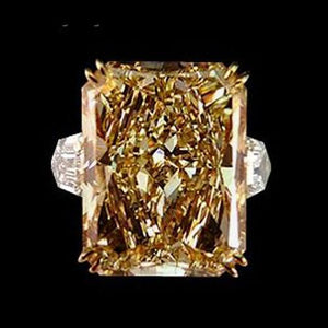 Champagne 4.40 Ct. Radiant Diamonds Ring Gold White New Ring