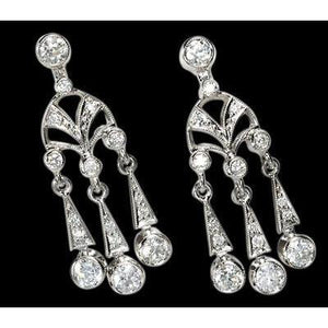 Chandelier Diamond Earrings 2.25 Carat Diamonds Jewelry Gold White Chandelier Earring