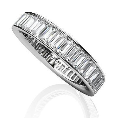 Channel Set Baguette Cut Diamond Eternity Wedding Band Gold 6 Carats Eternity Band