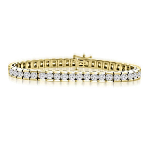 Channel Set Bracelet 5.60 Carats Round Cut Diamonds Yg 14K Tennis Bracelet