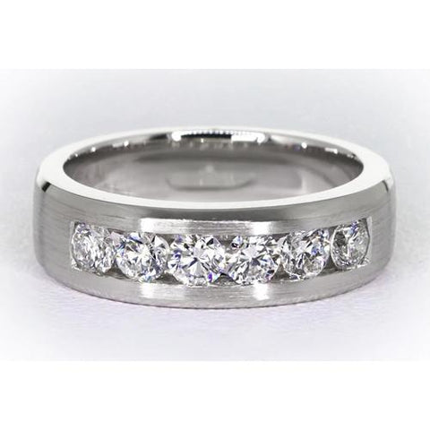 Channel Set Diamond Band Men'S Ring Mens Ring