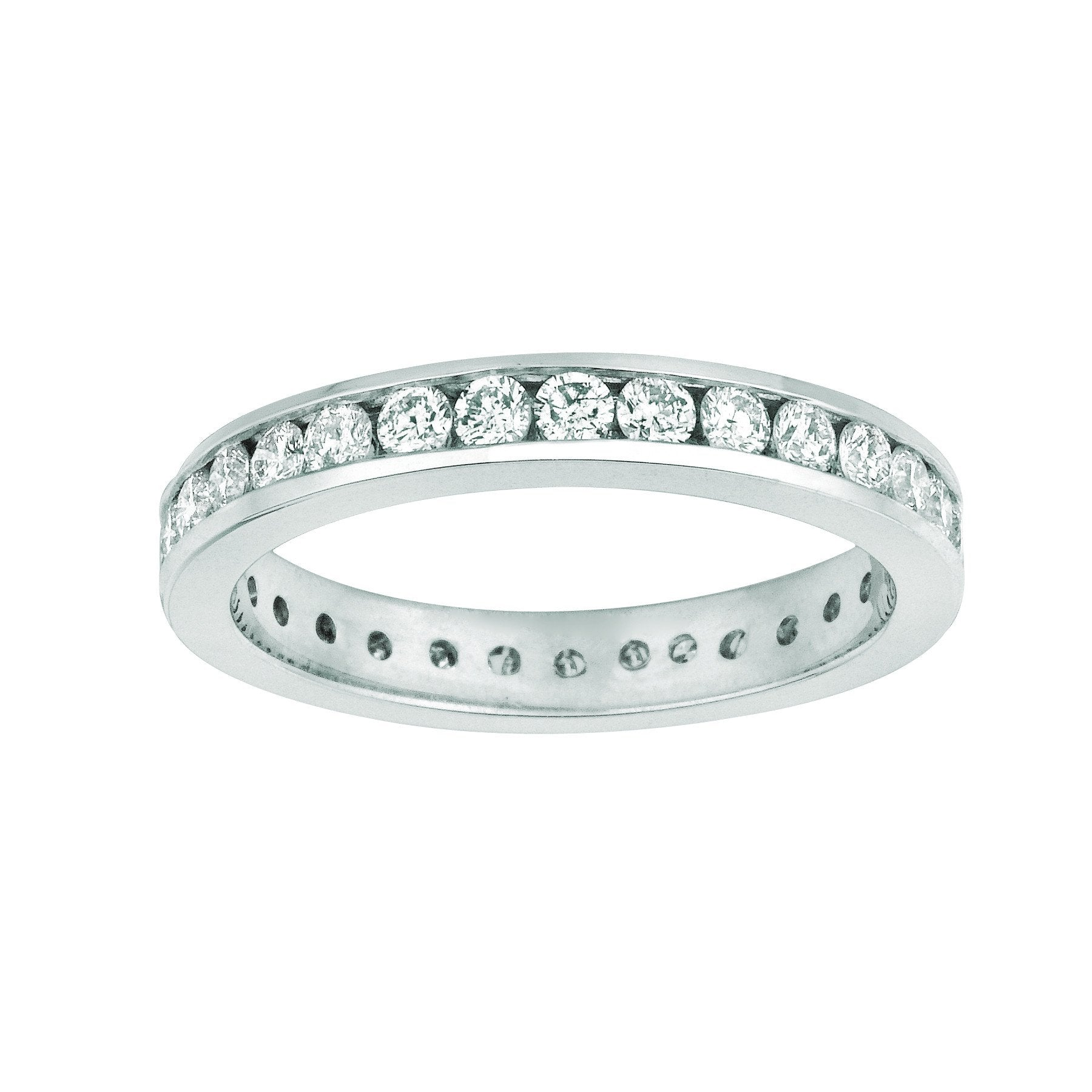 Channel Set Diamond Eternity Band 1.5 Carats 14K White Band