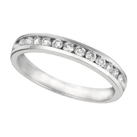 Channel Setting 0.37 Carat Round Brilliant Diamond Engagement Ring Eternity Band Jewelry Eternity Band