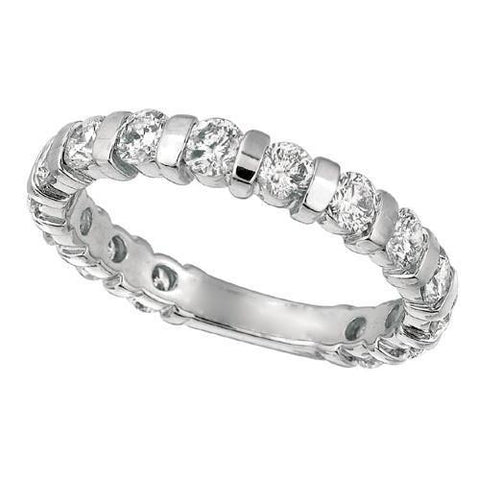 Channel Setting 1.51 Carat Round Diamond Sizeable Anniversary Ring Band Gold 14K Half Eternity Band