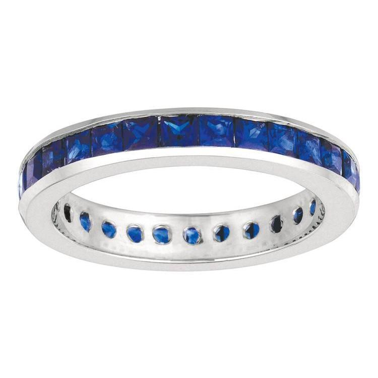 Channel Setting 2.67 Carat Princess Sapphire Eternity Ring Band Solid Gold 14K Gemstone Ring
