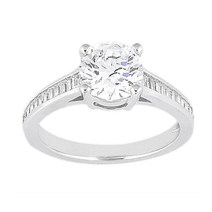 Channel Setting Baguette Diamonds 2.31 Carat Engagement Solitaire Ring Gold White Solitaire Ring