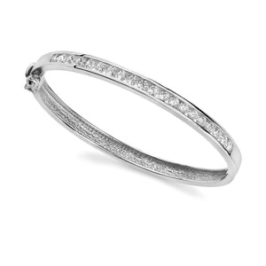 Channel Setting Round Diamonds Ladies Bangle White Gold 5 Ct Bangle
