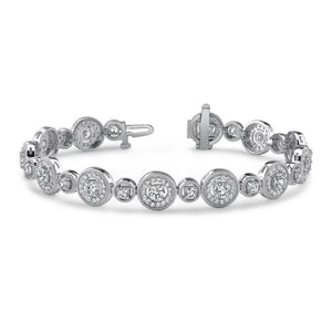 Circle Diamond Bracelet White Gold Jewelry Round Diamonds 11.40 Ct Tennis Bracelet