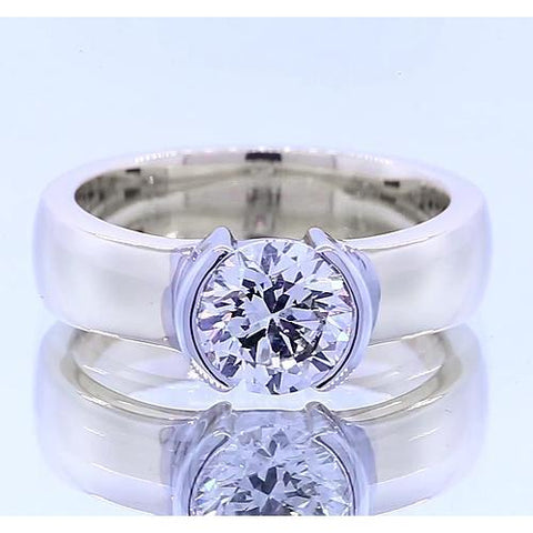 Classic Style 1 Carat Round Diamond Half Bezel Men'S Ring Mens Ring