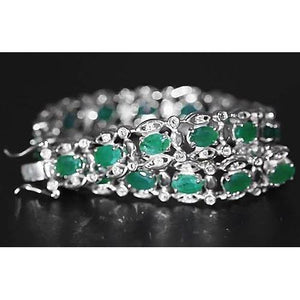 Columbian Green Emerald Diamond Bracelet 21 Carats Women White Gold 14K New Gemstone Bracelet