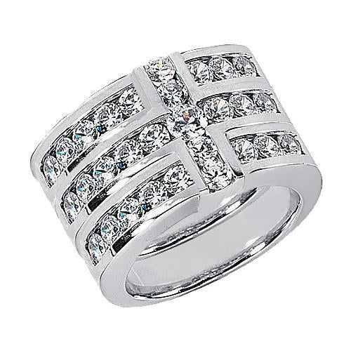 Cross Shape Ladies Diamonds Ring Band Set 3.4 Ct. White Gold Band