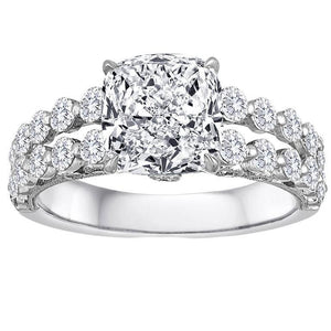 Cushion And Round Cut 5.40 Ct Diamonds Ring White Gold 14K Engagement Ring
