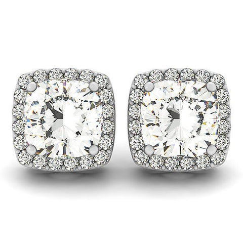 Cushion And Round Cut Halo Diamond Stud Earring 3.20 Ct White Gold Halo Stud Earrings