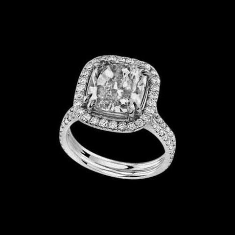 Cushion Cut Diamond Women Ring Transcend Style New White Gold 3.40 Ct. Ring