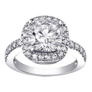 Cushion Cut Halo Diamonds 2 Ct. Engagement Ring Gold Halo Ring