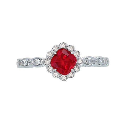 Cushion Cut Red Ruby Diamond Ring White Gold 14K 2.45 Carats Gemstone Ring