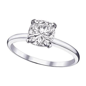 Cushion Cut Solitaire 1.00 Carat Diamond Anniversary Ring 14K Gold Solitaire Ring