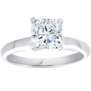 Cushion Cut Solitaire 2.50 Carat Diamond Anniversary Ring White Gold Solitaire Ring