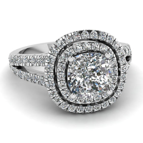 Cushion Cut With Round Diamonds 3.50 Carats Ring 14K White Gold Ring