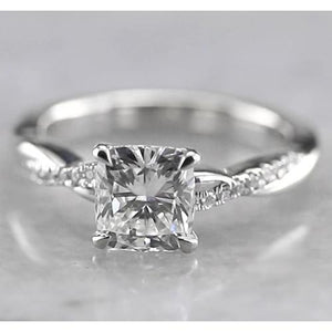 Cushion Diamond Engagement Ring Four Prong Set White Gold 14K Solitaire Ring with Accents