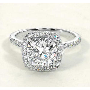 Cushion Diamond Engagement Ring Halo Style F Vs1 Vvs1 White Gold 14K Jewelry Halo Ring