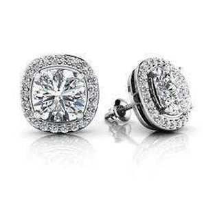 Cushion With Round Diamond Halo Ladies Stud Earring 4.70 Carats White Gold 14K Halo Stud Earrings