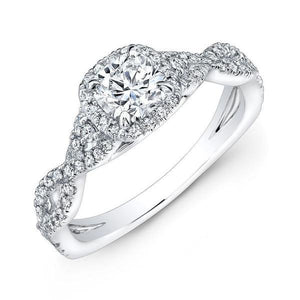 Cushion With Round Diamond Wedding Ring Halo White Gold Jewelry 1.60 Ct Halo Ring