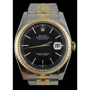 Datejust Men Watch Black Stick Dial Two Tone Jubilee Bezel Rolex Rolex