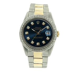 Datejust Watch Black Diamond Dial Bezel Rolex Men Ss & Gold Oyster Rolex
