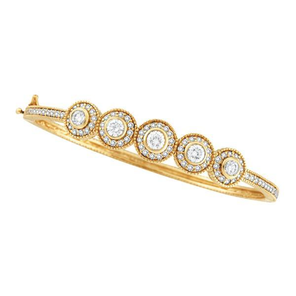 Designer Diamond Bangle Yellow Gold 2.57 Carats 14K Yellow Bangle