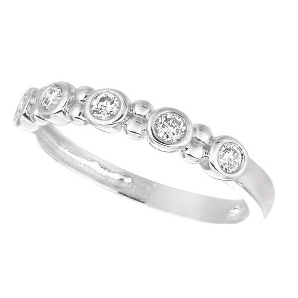 Diamond 0.25 Carat Round Brilliant Diamond White Gold 14K Ring Half Eternity Band Jewelry Half Eternity Band
