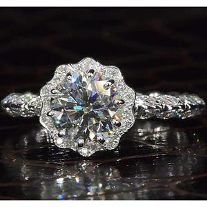 Diamond Antique Style Ring 2.50 Carats Blooming Flower White Gold 14K Engagement Ring