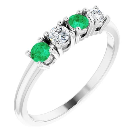 Diamond Band 0.80 Carats Green Emerald Ladies Jewelry New Band