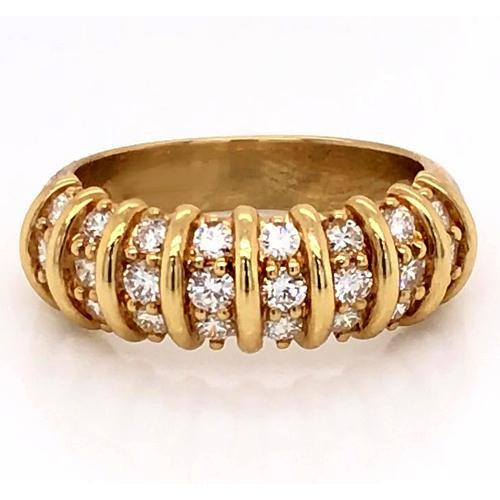 Diamond Band 2 Carats Vintage Style Diamond Yellow Gold Women Jewelry Band