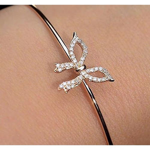 Diamond Bangle 2 Carats Yellow Gold Bow Tie Women Jewelry Bangle