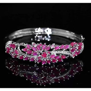Diamond Bangle Pink Sapphire 14 Carats Women White Gold Jewelry 14K Gemstone Bracelet