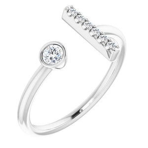 Diamond Bar Ring 0.48 Carats Women Jewelry Engagement Ring