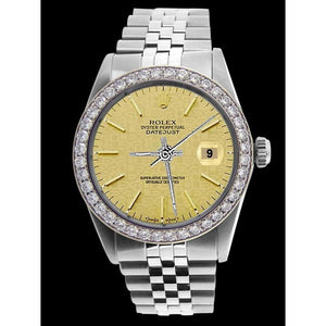 Diamond Bezel Men Rolex Watch Champagne Stick Dial Ss Jubilee Rolex