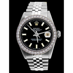 Diamond Bezel  Rolex Men Watch Black Stick Dial Ss Jubilee Bracelet Rolex